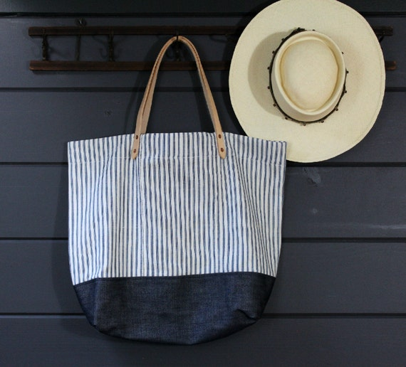 SALE 1930s Ticking/Denim Tote