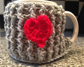 Perfect gift idea. Crochet love heart mug cozy, perfect give for Valentine's Day, for your loved one.