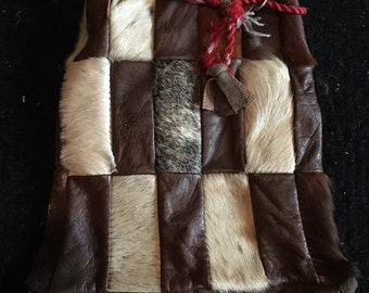 Taxidermy horse/pony hair and leather pouch handbag vintage
