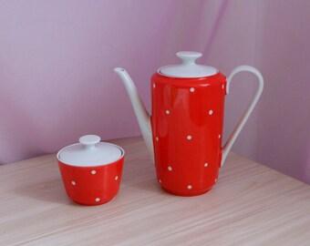 GDR Porcelain Coffee Pot and Sugar Bowl, German teapot and sugar-basin, Kahla GDR, vintage German tableware, retro kitchen dishware