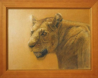 Kenyan Lioness, original framed oil painting