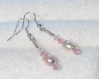 Swarovski Crystal and Fresh Water Pearl dangle Earrings