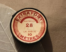 Vintage seam tape France 1960 french antique collection cotton flea market picker black old