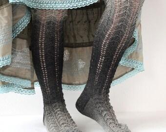 Socks Hand knitted - Wool Socks - Warm Socks - knit Socks - Socks Size 37/38 - Gift Socks - long socks - Winter Socks - grey socks