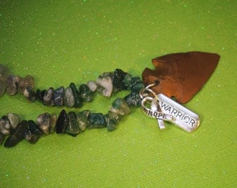 Item #110, Moss Agate, Necklace, Lime Green, Crystal, Metaphysical, Lyme Disease, Lyme Awareness Jewelry, Warrior, Arrowhead