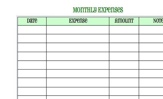Monthly Expense Calendar : Monthly expense sheet