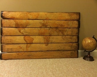 Antique map wooden wall decor MADE TO ORDER