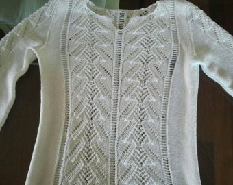 WHITE COTTON SUMMER SWEATER MADE WITH SHORTENED