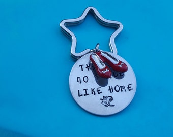 There is no place like home key ring , click your red shoes together ,Oz fan gift ,Hand stamped key ring