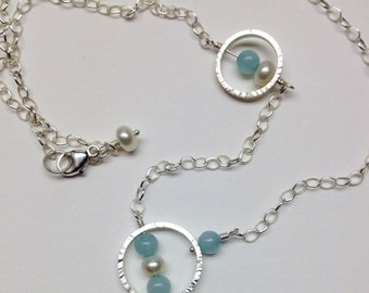 Sterling silver necklace with amazonite and freshwater pearls