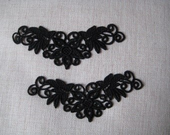 2 Lace Applique Black Venice Lace for Necklaces, Jewelry Supplies, Altered Couture, Aletered Art, Costume