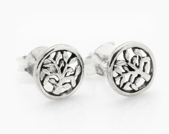 Petite Branching Tree Silver Earrings