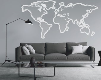 World Map Outlines Wall Decal - Vinyl Graphic Wall Sticker