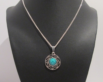 Turquoise Pendant Silver Chain Necklace - Handmade Women's Jewelry - Shimmering Sky Necklace