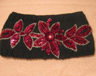 Black Knit Headband with Fuschia Sequin Applique