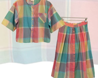 Vintage Pastel Plaid Matched Coordinate Skirt Set