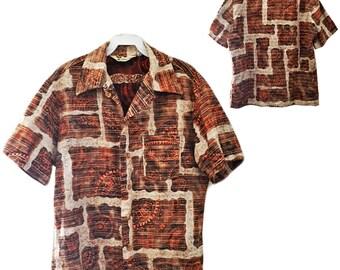 Vintage Men's Cotton Barkcloth Shirt — Size M/L