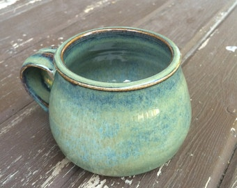 Floating Blue Fat-Bottomed Porcelain Mug