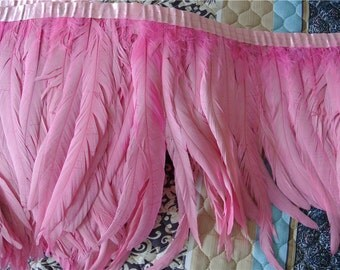 rooster hackle feather fringe trim 5 yards of light pink color