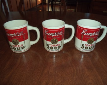 3 Vintage 1970's Campbell's tomato soup mugs.