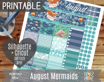 Mermaid August Monthly View Printable Planner Stickers, Erin Condren Planner Stickers, Monthly Overview Stickers, Watercolor CUT FILES