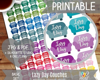 Lazy Day Planner Stickers, Printable Planner Stickers, EC Vertical Stickers, Coach Stickers, Lazy Day coaches, Lazy Day Stickers - CUT FILES
