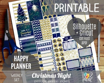 Christmas Night Weekly Printable Planner Stickers, Happy Planner Stickers, Weekly Stickers, Christmas Stickers, Mambi - Cut files