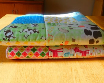 pram quilt/play quilt in blue farm animal print