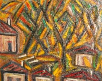 Vintage Avant garde oil painting landscape