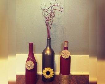 Burlap Flowers/Twine/Charm Wine Bottles Craft/Decor