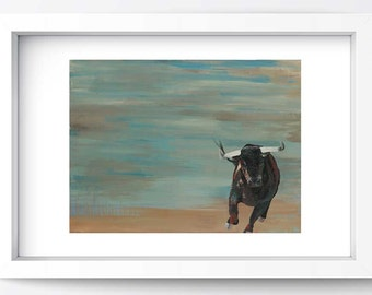 Wall Art Giclee Print Large Medium Contemporary Bull Western Landscape Living Room Office Bedroom Decor Gift