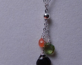 Sterling Silver 3 Gemstone Dangle Necklace