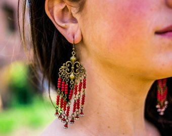 Ruby Magic...Gypsy, Bohemian, Red, Ruby, Czech Glass Beads, Chandelier Earrings