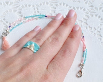 Peyote ring and beaded bracelet set