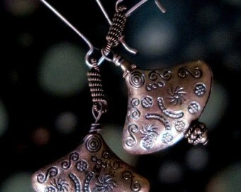 Antiqued Copper Long Dangle Earrings - Handcrafted in USA