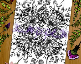Printable Coloring Page - Henna Mandala Design - PDF Download