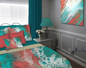 Teal coral gray aqua bedding set, Duvet Cover, Queen King Full Twin, Abstract art, Designer home decor, Master Bedroom, Contemporary Modern