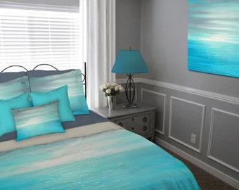 Duvet Cover, Coastal bedding, Queen, Designer home decor, Abstract art, Aqua Teal blue gray decor, Bedroom, Beach decor, Ocean, King Twin