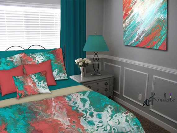 s complete small coral and teal bedroom teal coral gray aqua bedding set duvet cover king 242