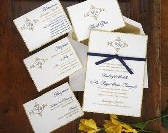 Willow Initials Wedding Invitation Set - Classic Wedding Invite - Formal Wedding Invitation Suite- Custom Wedding Invitation - AV52