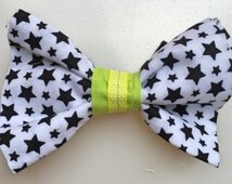 "Dog Bow Tie Stars with Lime,  Medium Size Bow Tie (5"" length by 3 1/2' wide)"