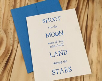 Shoot for the Moon Letterpress Card