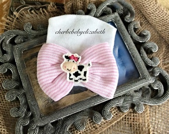 Hospital Newborn cow bow Beanie, Shower gift, infant, Newborn, animal hat, girl pink striped cow bow beanie, first keepsake, Hospital Hat