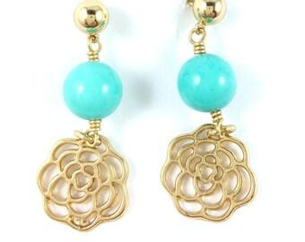 Golden earrings, dangle earrings. turquoise earrings, flower earrings, golden jewelry, turquoise jewelry, turquoise earrings, flower jewelry