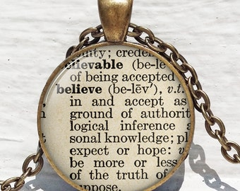 Believe definition necklace vintage dictionary word religious gift Christian pendant trust jewelry.