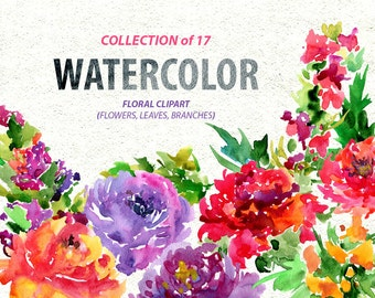 Watercolor floral clipart: 17 bright Branches, Flowers, Leaves, Boho Aquarelle Digital Clip Art, watercolour colorful flowers, wildflowers