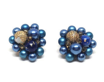 Vintage Costume Jewelry Blue Gold Beaded Cluster Clip On Earrings