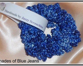 S10# Denim Blue Scrunchie, blue, metallic, SPARKLE scrunchie