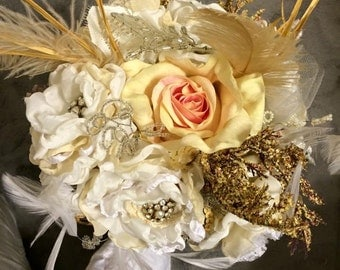 Wedding Brooch Bouquet, Fabric Flower Bouquet, Vintage Wedding, Fabric Bridal Bouquet, Vintage lace, Pearl embellishments, Off White