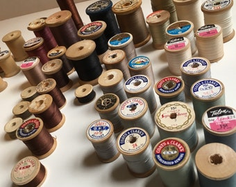 42 Vintage Wooden Spools of Thread-Blacks, Whites, Browns, Grays, Taupes, Tans-Talon-Belding Corticelli-Coats & Clark's-Craft Supplies
